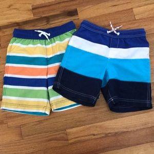 EUC Boys Lands End Swim Trunks, 2 pair size 7